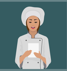 girl cook keeps a piece of paper vector image vector image
