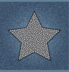 Jeans star with spangles vector