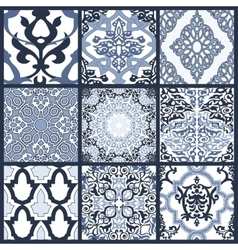 Set of Seamless in Mosaic Ethnic Style vector image vector image