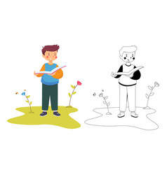 A boy reading book and outline with white vector