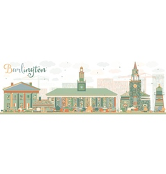 Abstract burlington vermont city skyline vector