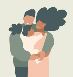 African american young parents hugging vector