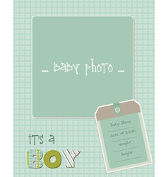 baboy arrival card with photo frame in vector image