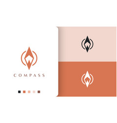 Backpacker or compass logo design with simple vector