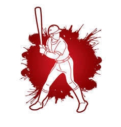baseball player action cartoon sport graphic vector image