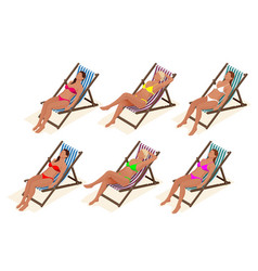 Beautiful young slim woman sunbathe on the beach vector