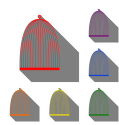 bird cage sign set of red orange yellow green vector image
