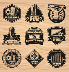 black vintage sport bar labels set vector image