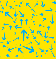 blue arrows on yellow seamless vector image