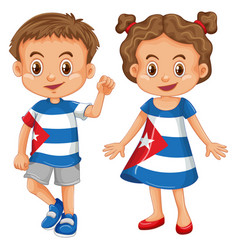 boy and girl wearing shirt with cuba flag vector image