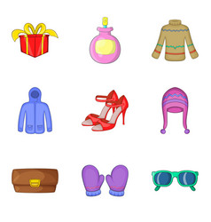 Buying spree icons set cartoon style vector