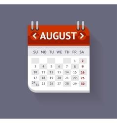 Calendar August Flat Design vector