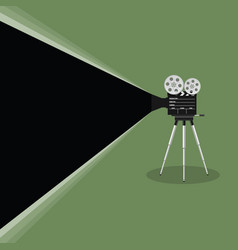 camera old movie on green background vector image