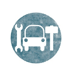 Car service sign with pixel print halftone dots vector image