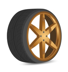 Car wheels gold color style vector