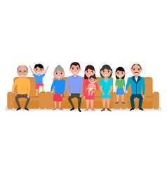 cartoon big happy family sofa vector image vector image