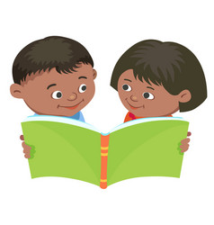 Cartoon kids reading book mexican half vector