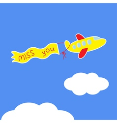 Cartoon plane ribbon with words miss you card vector