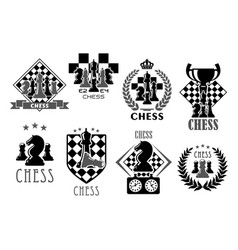 chess club and game contest icons vector image