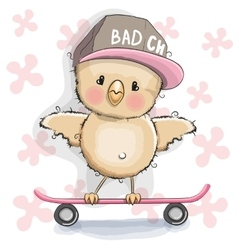 Chicken with skateboard vector