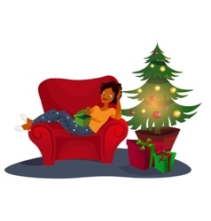Christmas interior with an elegant red sofa vector image