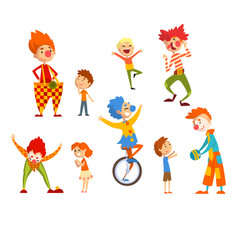 clowns and happy little kids set children having vector image