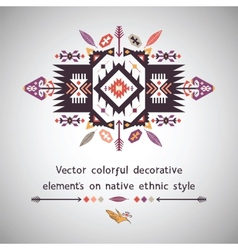 Colorful decorative element on ethnic style vector