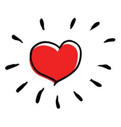 Creative sunny heart in childish style vector