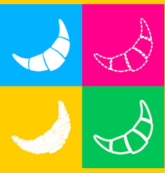croissant simple sign four styles of icon on four vector image vector image