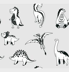 cute dinosaurs seamless pattern vector image