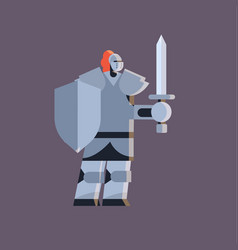 cute guy wearing knight costume man holding shield vector image