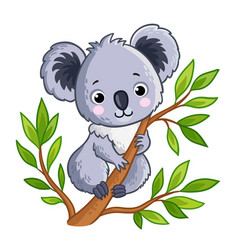 Cute panda sitting on a tree vector
