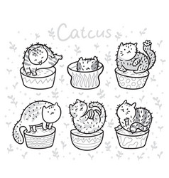 cute succulent or cactus plant in the form of cats vector image