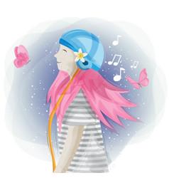 Cute women hearing music design vector