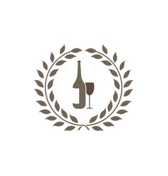 drink bottle and glass logo vintage leaves design vector image