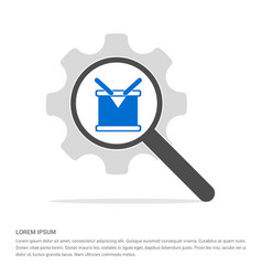 drum icon search glass with gear symbol icon vector image