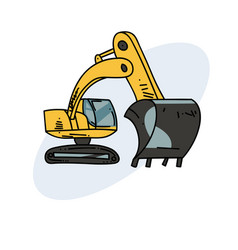 excavator hand drawn image vector image