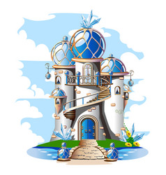 Fairytale castle with a blue domed roof a balcony vector