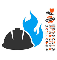 fire protection helmet icon with valentine bonus vector image