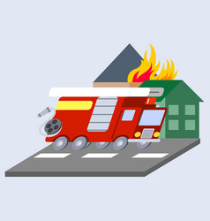 firefighter truck flat skew icon vector image