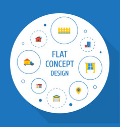 Flat icons home pin depot and other vector