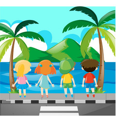 Four kids looking at the sea vector
