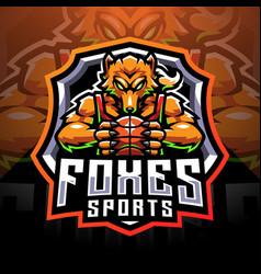 Foxes sports mascot logo vector