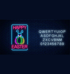 Glowing neon sign easter bunny with eggs vector