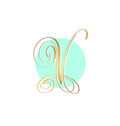 gold calligraphy letter on circle blue background vector image