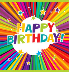 happy birthday postcard comic colorful alphabet vector image vector image