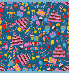 happy birthday seamless pattern celebration party vector image