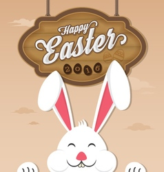 Happy easter 2016 and smiling bunny vector image