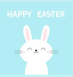 Happy easter bunny rabbit face cute cartoon vector