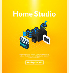Home studio poster of isometric color design vector
